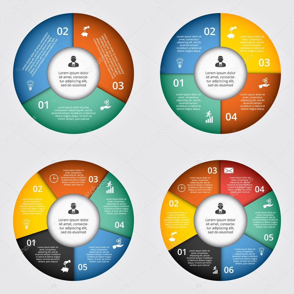 Elementos do vetor de crculo para infogrfico vetores de stock vector circle elements for infographic template for cycling diagram graph presentation and round chart business concept with 3 4 5 6 options parts ccuart Image collections