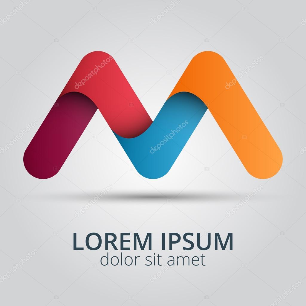 Elementos de plantilla de diseño de icono de letra M logotipo ...