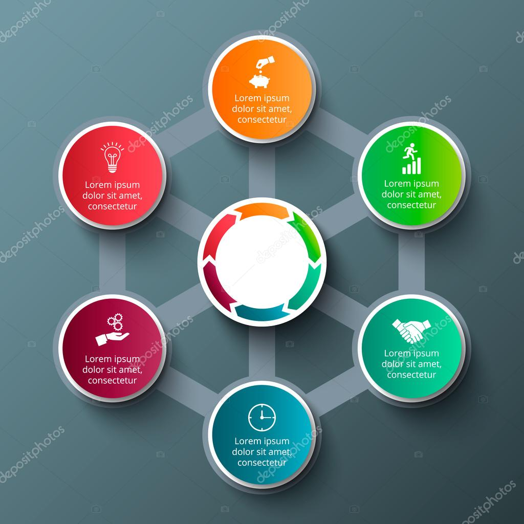 Vector hexagon with circles for infographic. — Archivo Imágenes ...