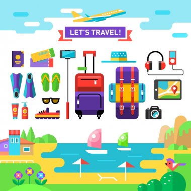 Summertime travel template with sea, beach and vocation's accessories: suit case, backpack, camera, selfie stick, sun cream etc. Set holidays icons. Vector flat background and objects illustration.