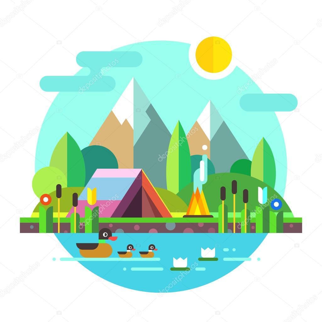 Summer landscape: tent and bonfire in mountains near lake. Solitude in nature by the river. Flowers, ducks. Hiking and camping. Stock vector illustration, style flat.
