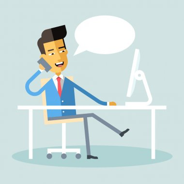 Handsome asian manager in formal suit sitting at a desk with a computer and talking on cell phone. Cartoon character - asian businessman. Stock vector illustration style flat.