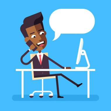 Handsome african american manager in formal suit sitting legs crossed at the desk with a computer and talking on cell phone. Cartoon character - cute businessman. Stock flat vector illustration.