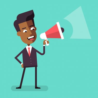 Handsome african american businessman in formal suit holding megaphone and shouting in it. Cartoon character - happy manager with bullhorn. Business concept. Vector flat design illustration.