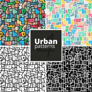 Set of urban patterns. Vector textures.