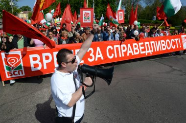 Socialist supporters participate in a rally to mark May Day, May 1, 2015 in Sofia, Bulgaria