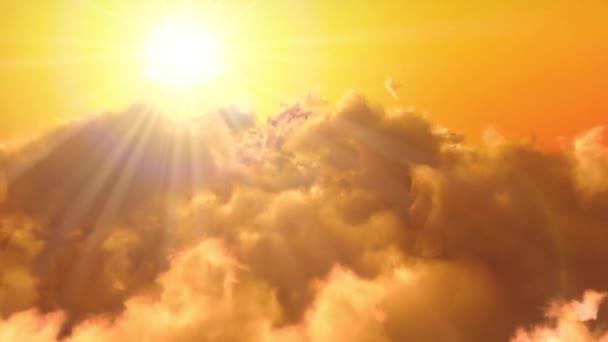 Letem nad západ slunce mraky.
