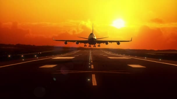 Airplane landing at sunset.