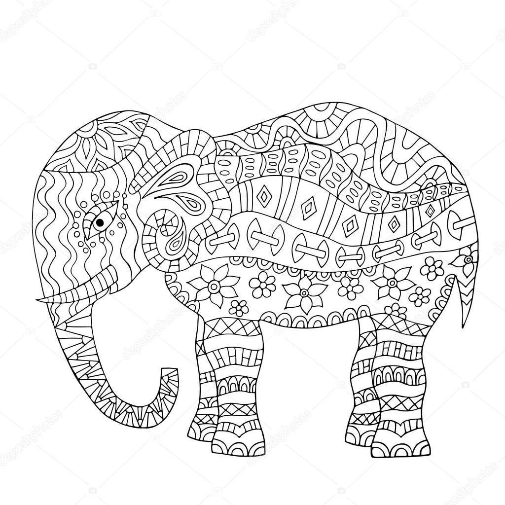 Hand drawn elephant coloring page. — Stock Vector © maroshka #100253538