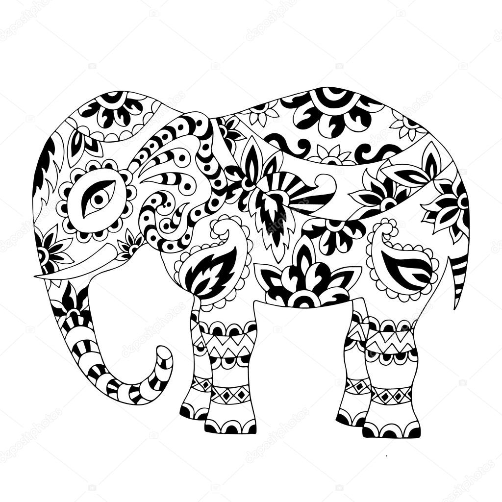 hand drawn zentangle elephant stock vector maroshka 100258792