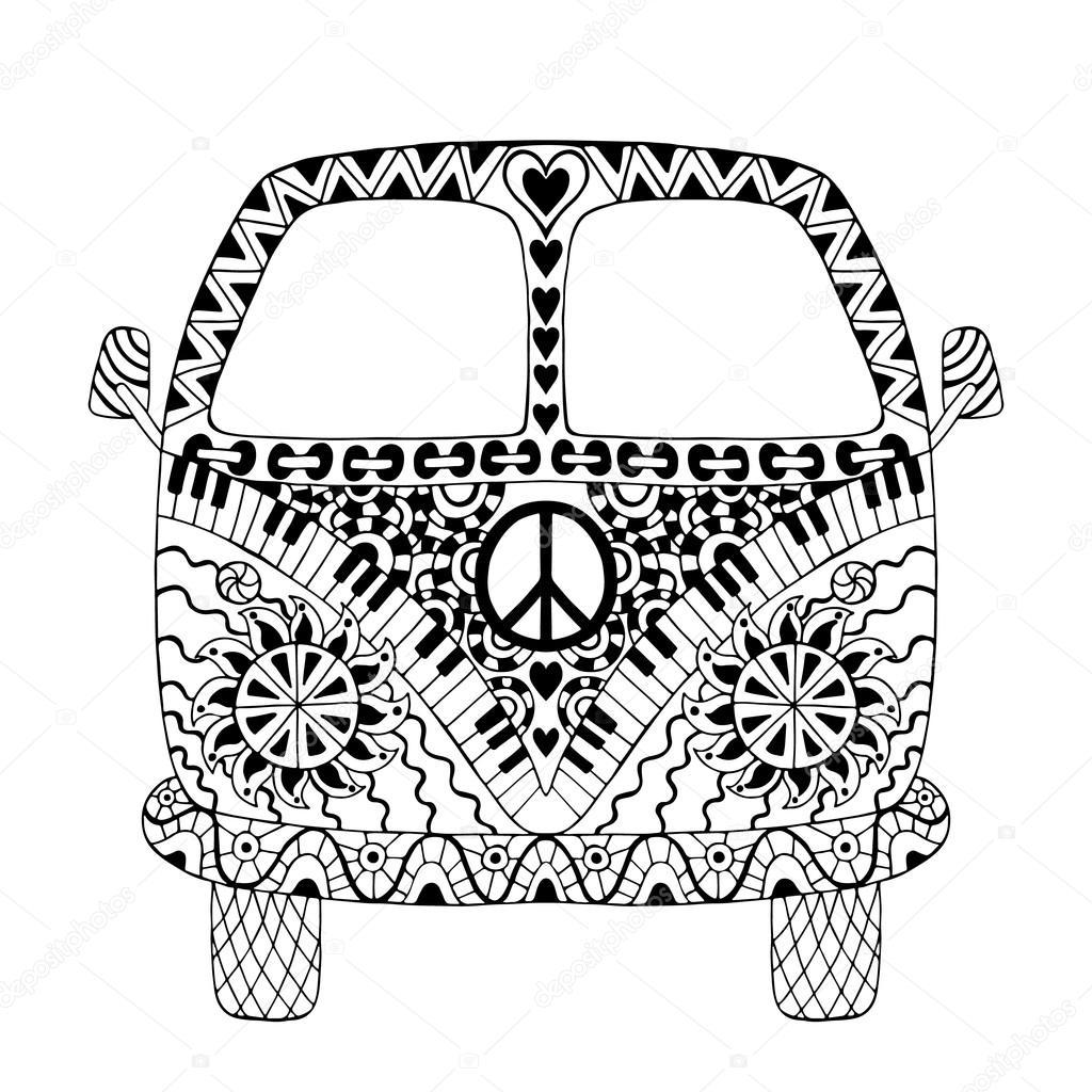 hippie vintage bil minibuss  u2014 stock vektor  u00a9 maroshka  100259496