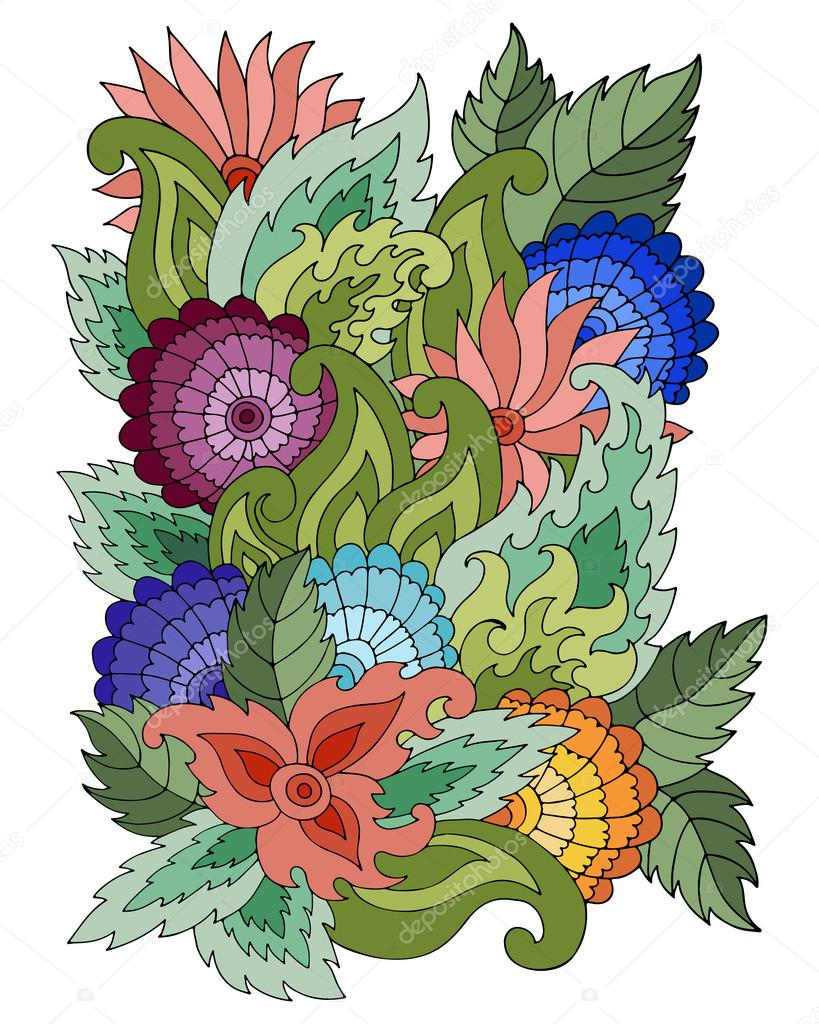 Magic  pattern with abstract flowers and leaves.