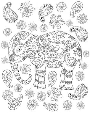 Hand drawn zentangle elephant1