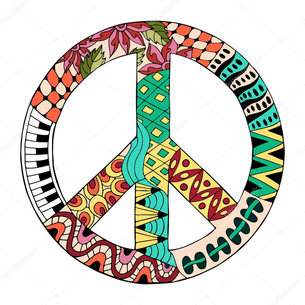 Stock Illustration Hippie Vintage Peace Symbol In