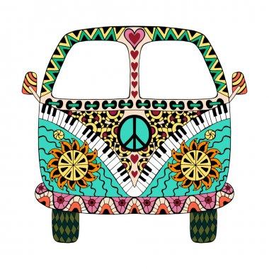 Hippie vintage car a mini van