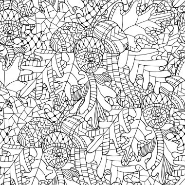 Seamless pattern with oak brunch, leaves and acorns in doodle st