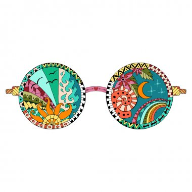 Hand drawn hippie sun glasses.