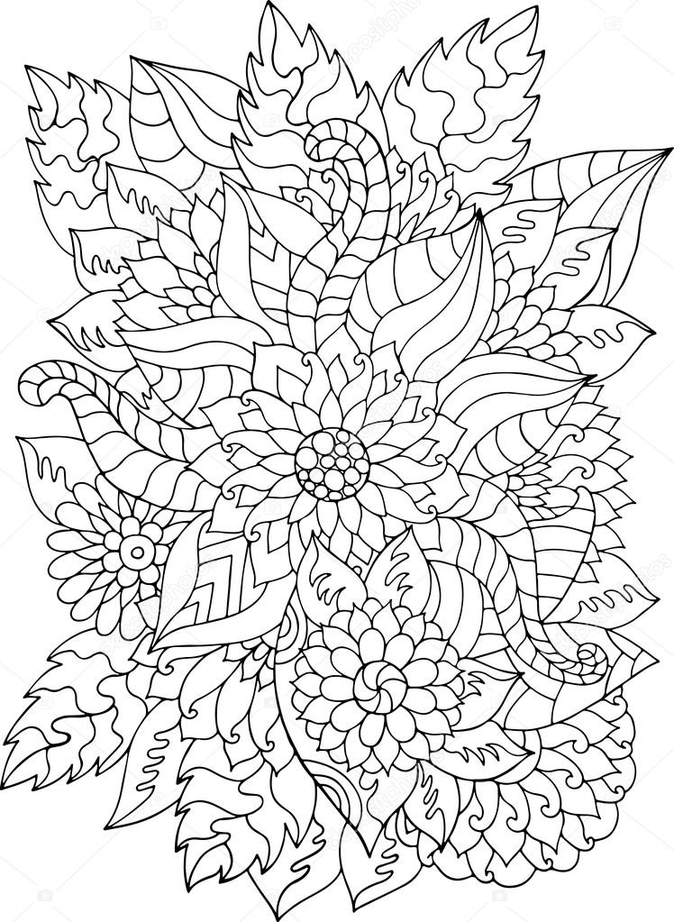 Hand drawn zentangle flowers and leaves