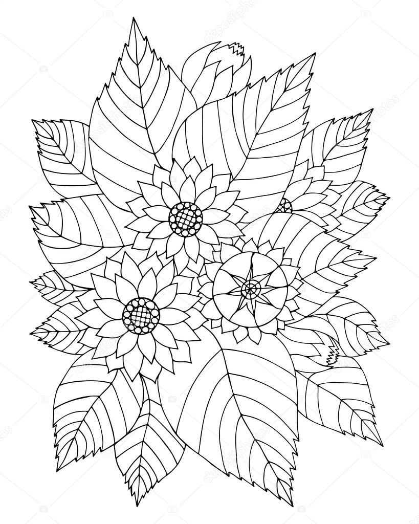 Hand Drawn Zentangle Sunflowers And Leaves For Adult Anti Stress Coloring Page With High Details Isolated On White Background Made By Trace From Sketch
