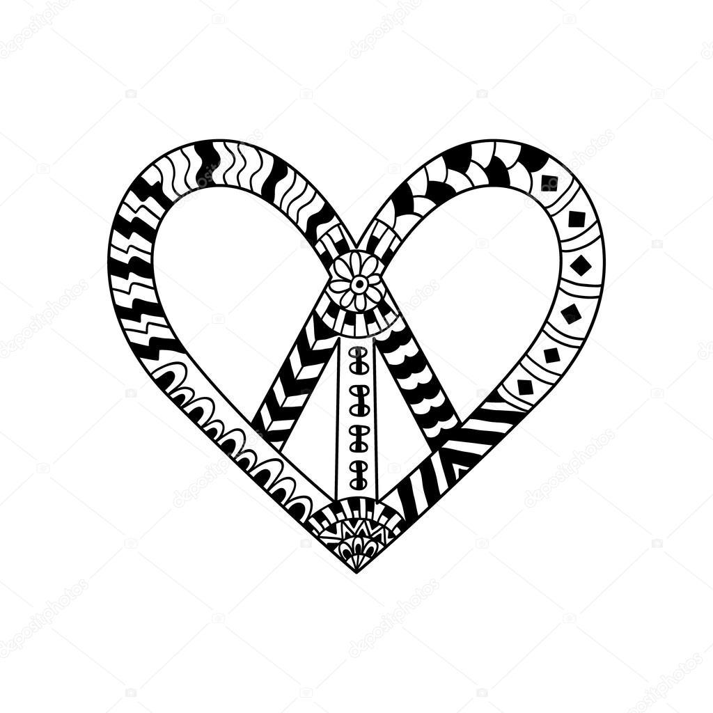 Símbolo de paz vintage hippie estilo zentangle para adultos anti st ...