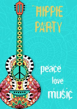 Hippie party poster. Hippy background with acoustic guitar.