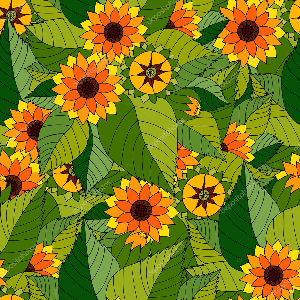 Vector seamless texture with abstract flowers and leaves.