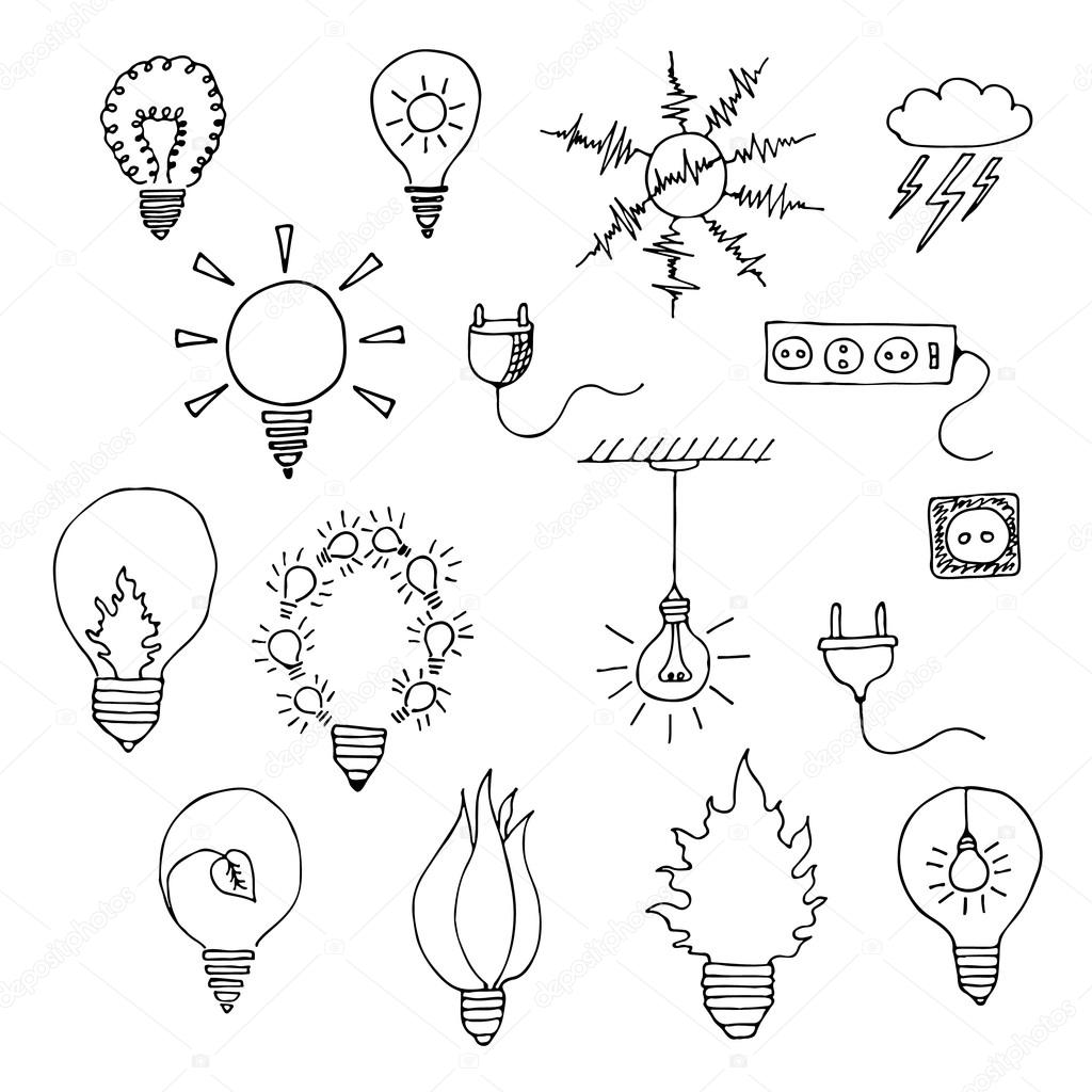 elektrische Symbole Satz — Stockvektor © maroshka #74068727