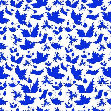 Gzhel background. Seamless pattern.
