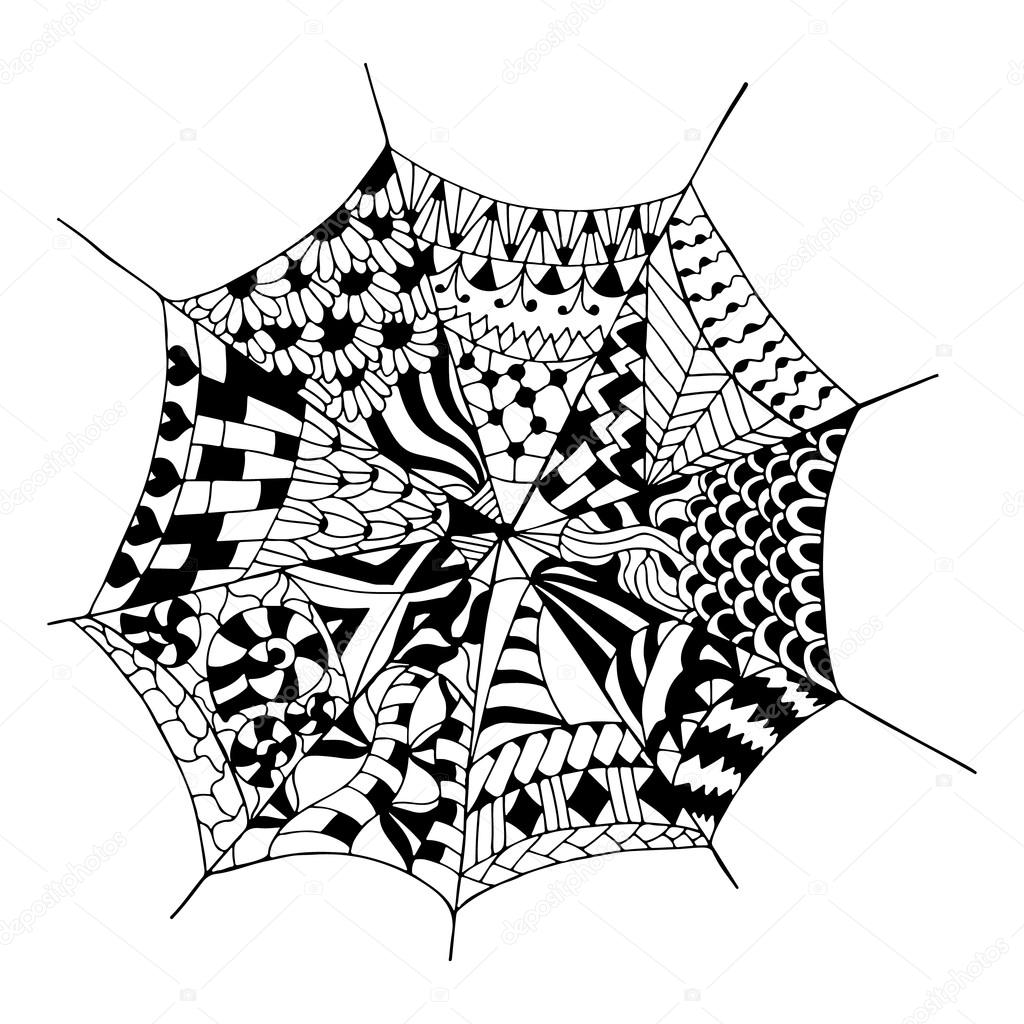 Elle çizilmiş örümcek Ağı Stok Vektör Maroshka 96715758