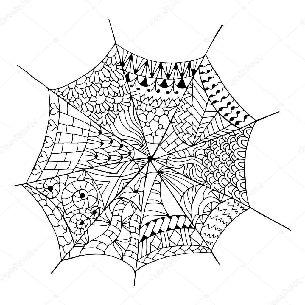 Elle çizilmiş örümcek Ağı Stok Vektör Maroshka 96718744