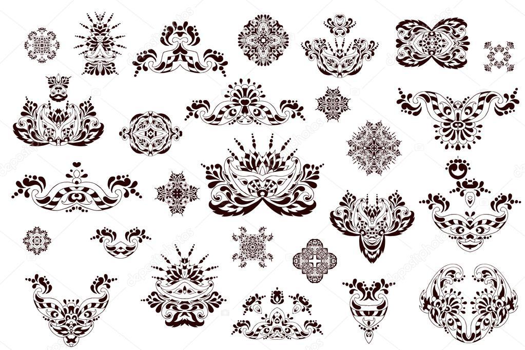 Elementos Do Vetor De Doodle Tatuagem De Henna Vetor De