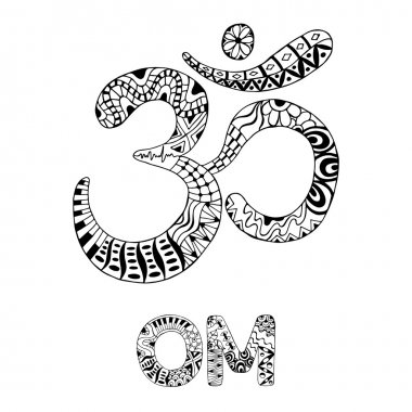 Om symbol. Aum, ohm. Hand drawn detailed vector illustration