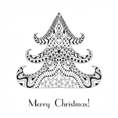 Christmas tree. Christmas card in zentangle style for adult anti stress