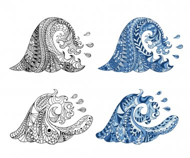 Hand drawn zentangle waves and drops for adult anti stress.