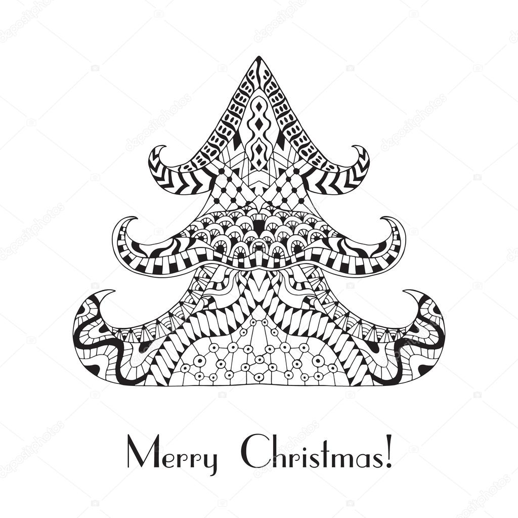 Christmas tree. Christmas card in zentangle style for adult anti ...