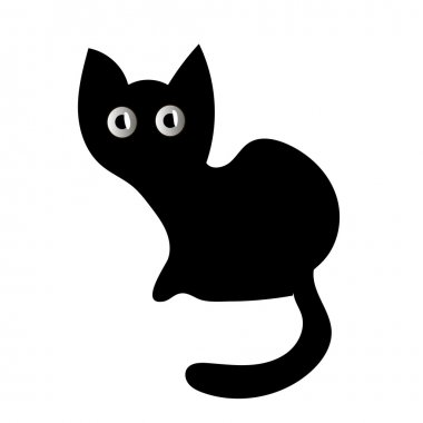 Vector illustration of a black cat. Black cat silhouette on a white background. Cute black cat with big eyes
