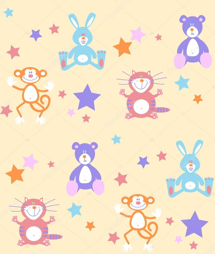 Seamless pattern baby toys background.  Vector illustration texture for print, textile design, fabric, home decor, wallpaper