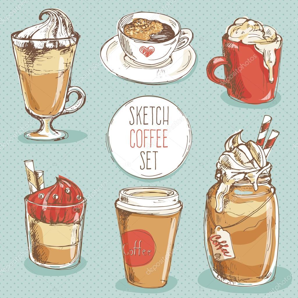 hand drawn sketch coffee set