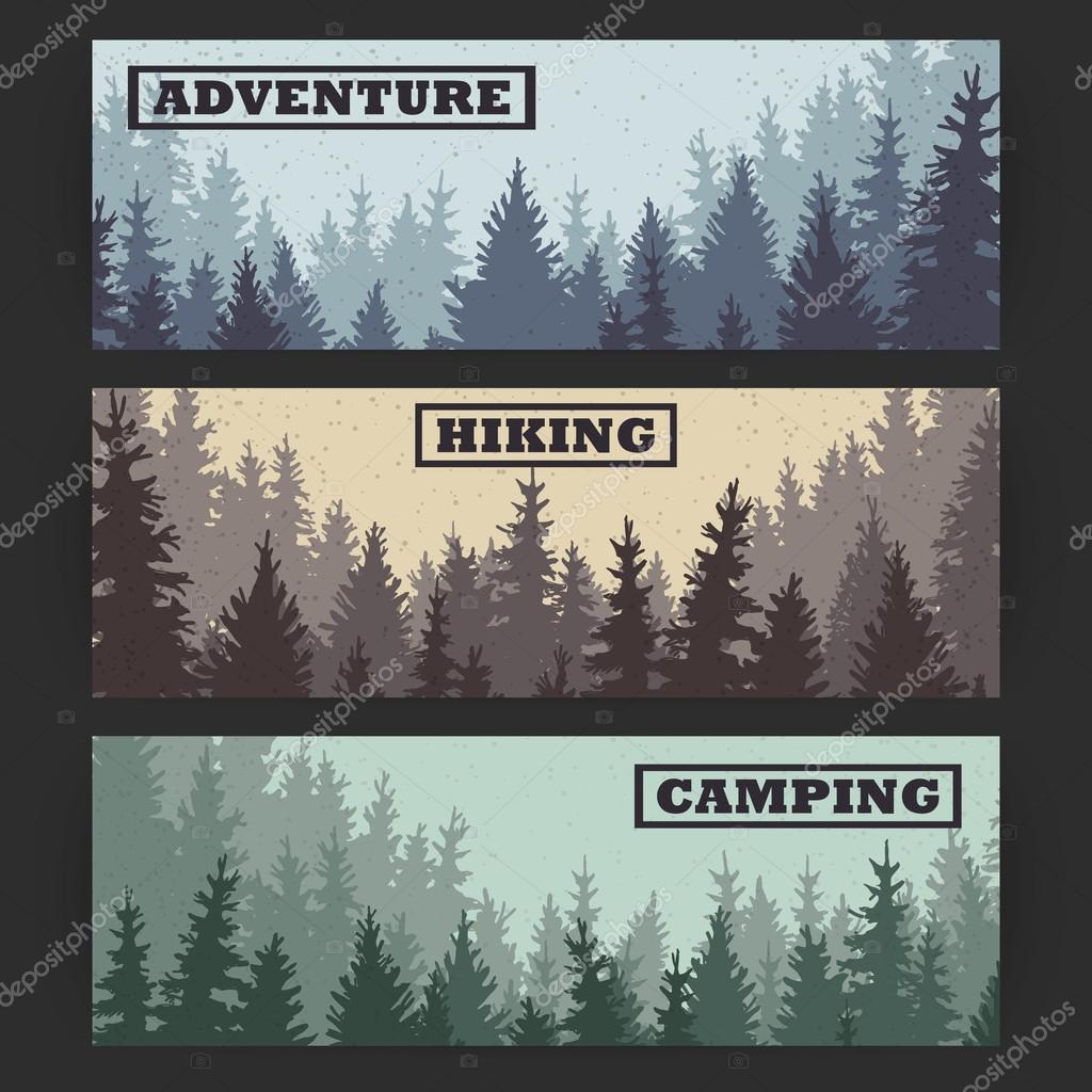 wild coniferous forest banners stock vector ffffffly 111799742