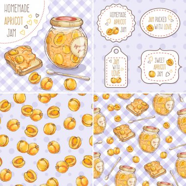 Set of cute jar with apricot jam