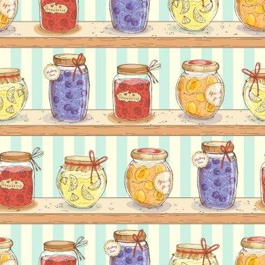 Cute jars  on shelves