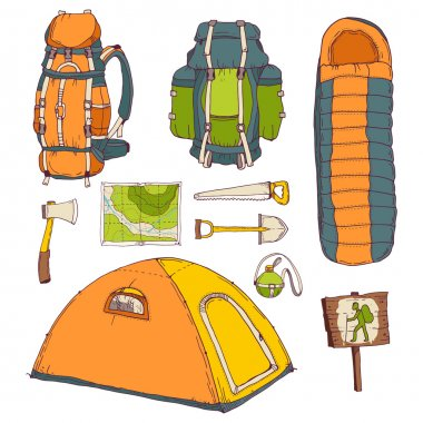 picnic, travel, camping objects set