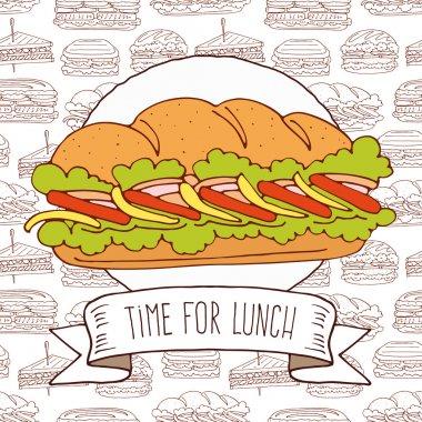 tasty sandwich on pattern