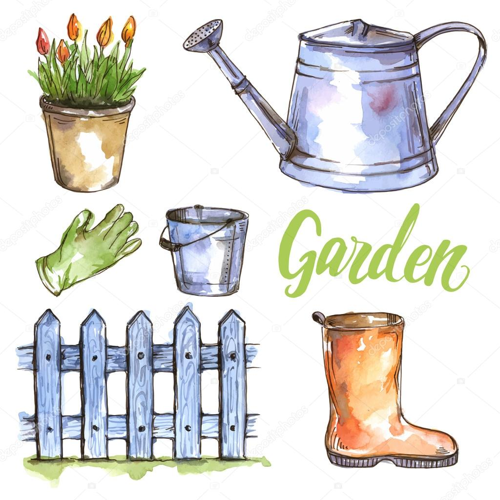 watercolor garden set