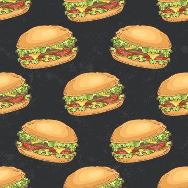 Pattern with hamburgers on dark backgroun