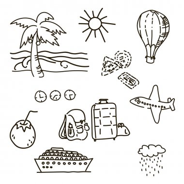 Outline drawings by hand in the journey sketch vector