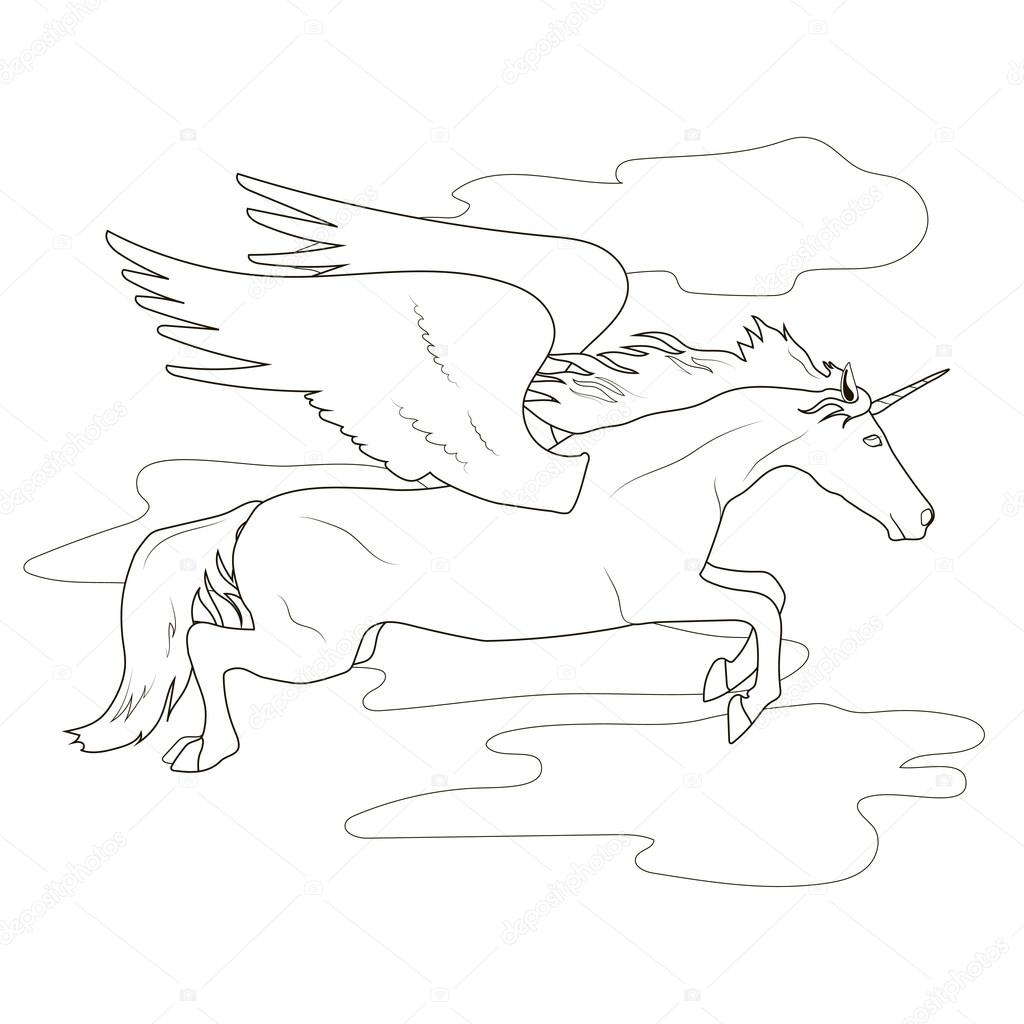 Coloring Flying Pegasus Unicorn Stock Vector C Irinapotter 94146272