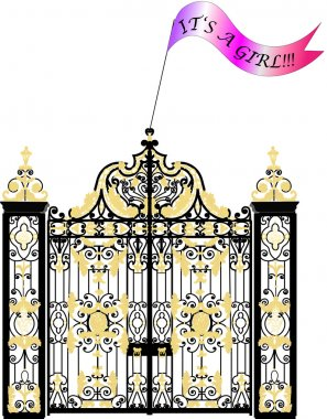 Kensington palace gate with a newborn royal baby girl announcement