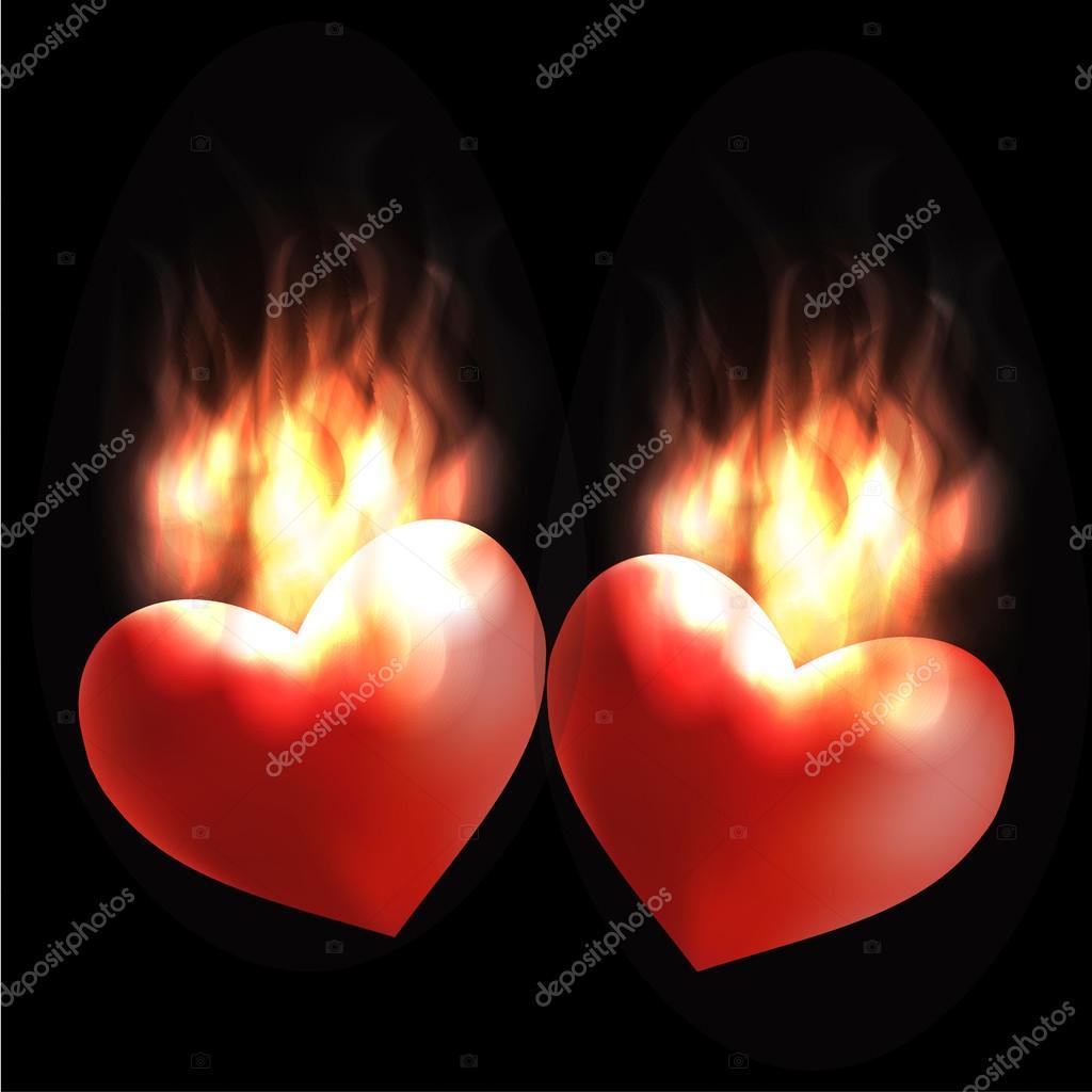 Cuore Ardente Di Amore E Passione Fiamme Su Sfondo Nero