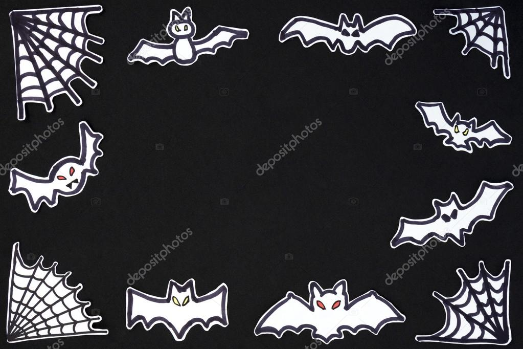halloween frame bats and spiderwerb horizontal — Fotos de Stock ...